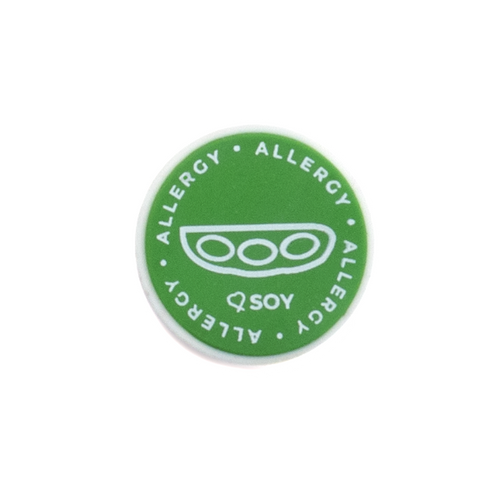 Soy Allergy alert charm meant to be used on a medical alert bracelet or band. Used to help alert others and help prevent exposure to soy