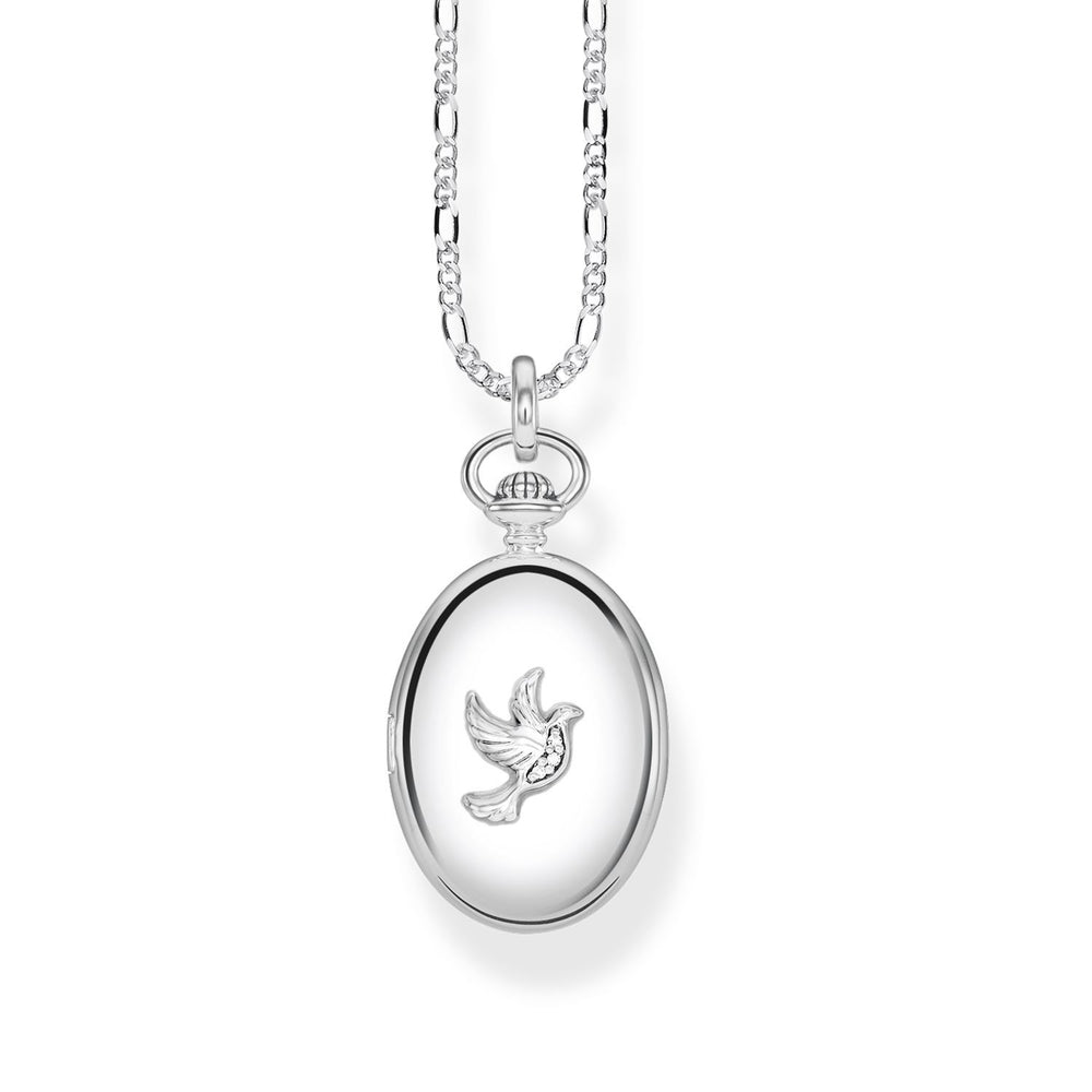 "Necklace ""Locket dove oval"""
