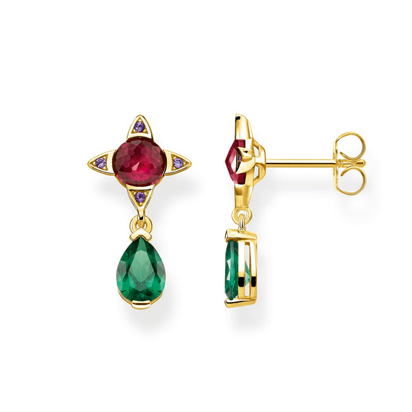 earrings Green drop with red stone - THOMAS SABO Thailand