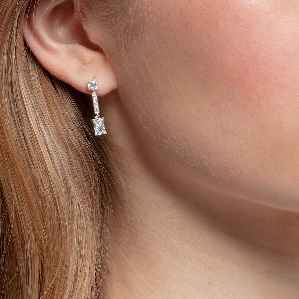 Earrings Angular stones, white - THOMAS SABO Thailand