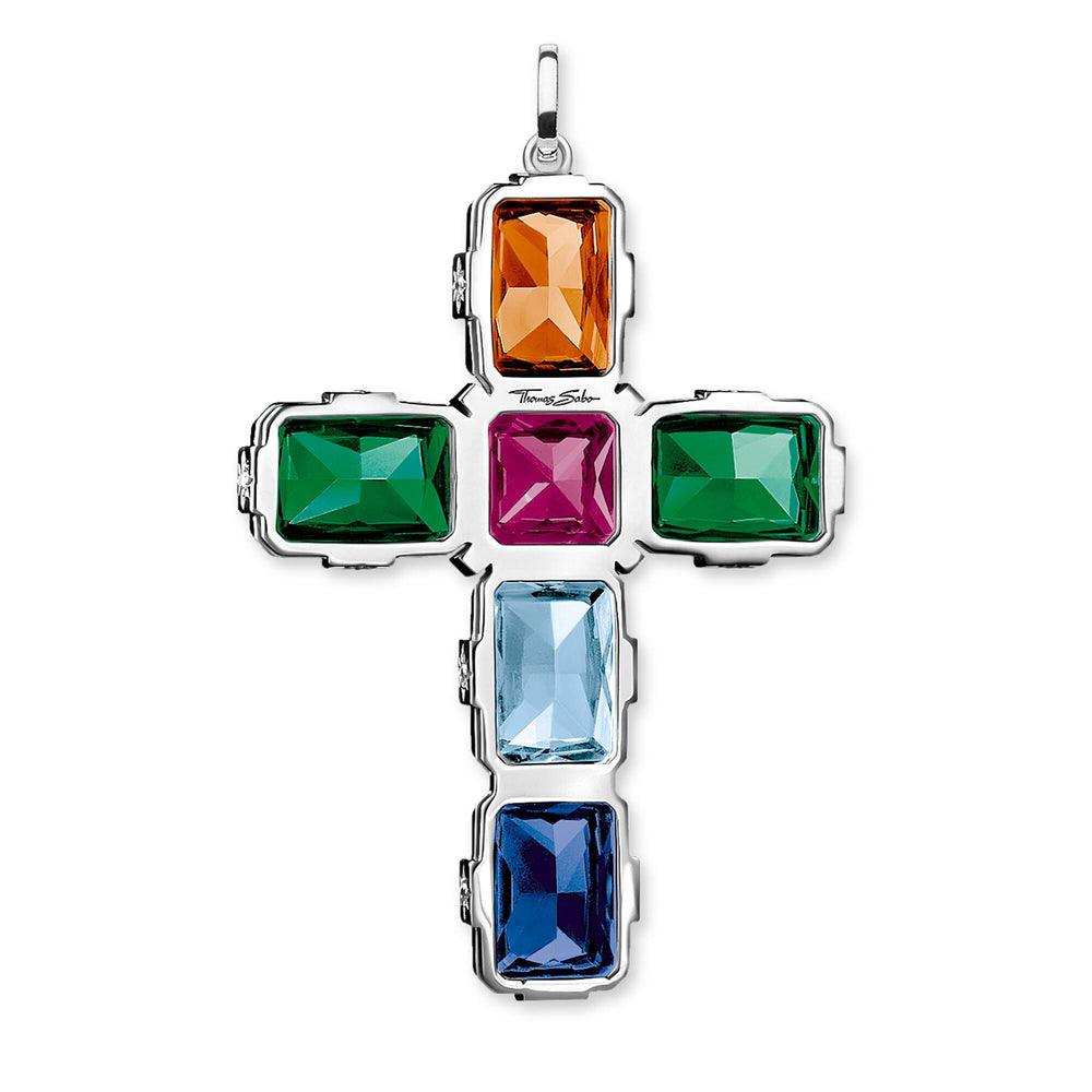 Pendant Cross colourful stones, silver, large - THOMAS SABO Thailand
