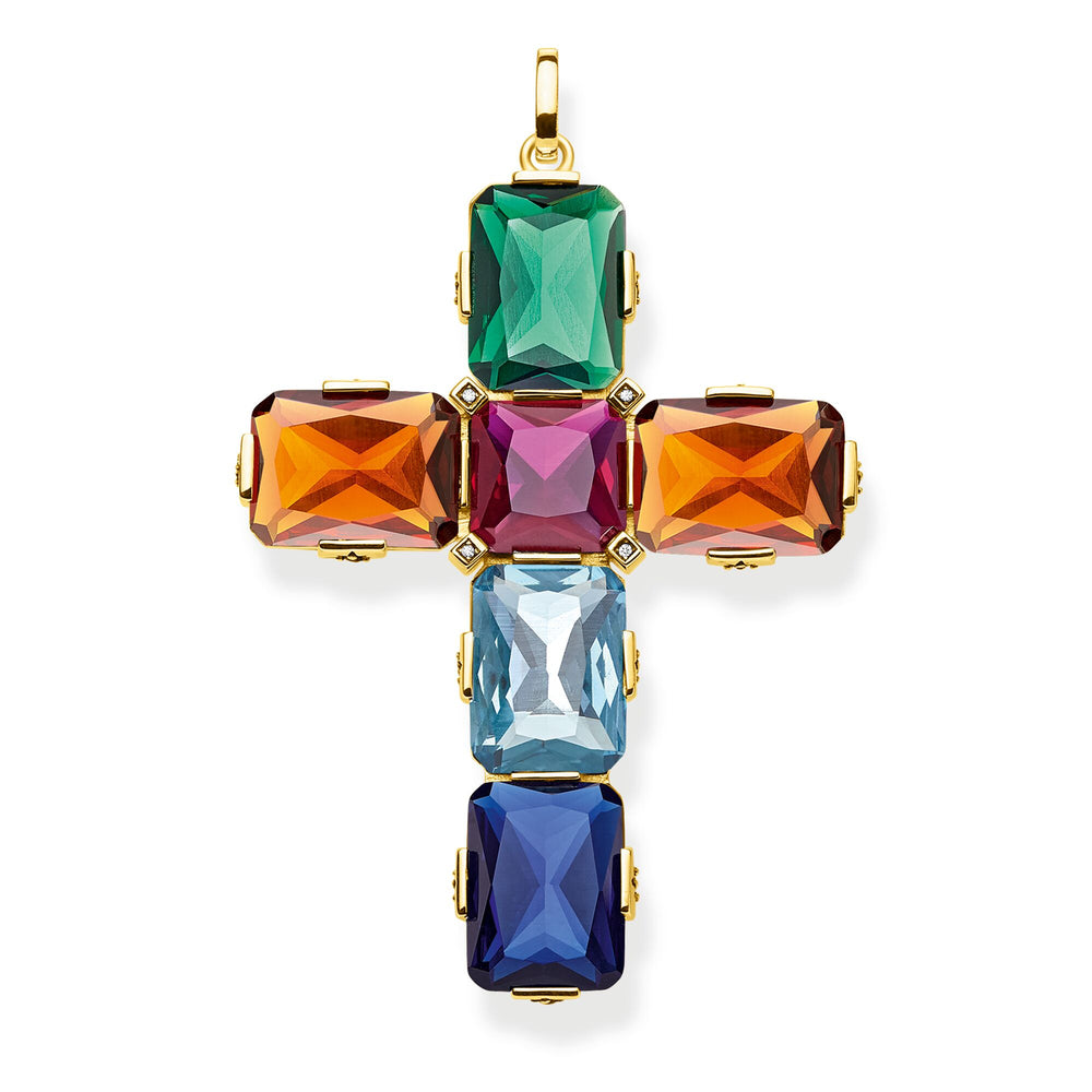 Pendant Cross colourful stones, gold, large - THOMAS SABO Thailand