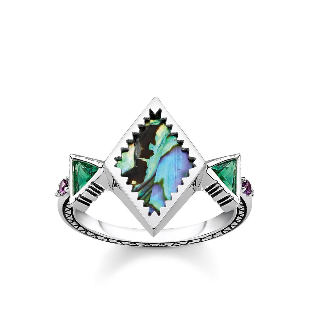 "Ring ""Zig Zag Abalone Mother-of-pearl"""