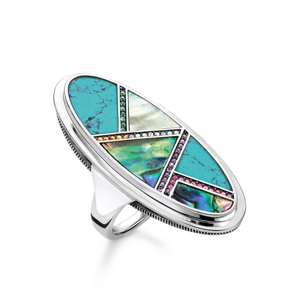 "Ring ""Turquoise, Mother-of-pearl"" - THOMAS SABO Thailand"