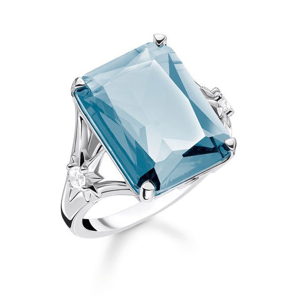 Ring Blue stone, large, with star - THOMAS SABO Thailand