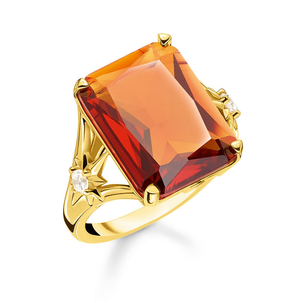 Ring Orange stone, large, with star