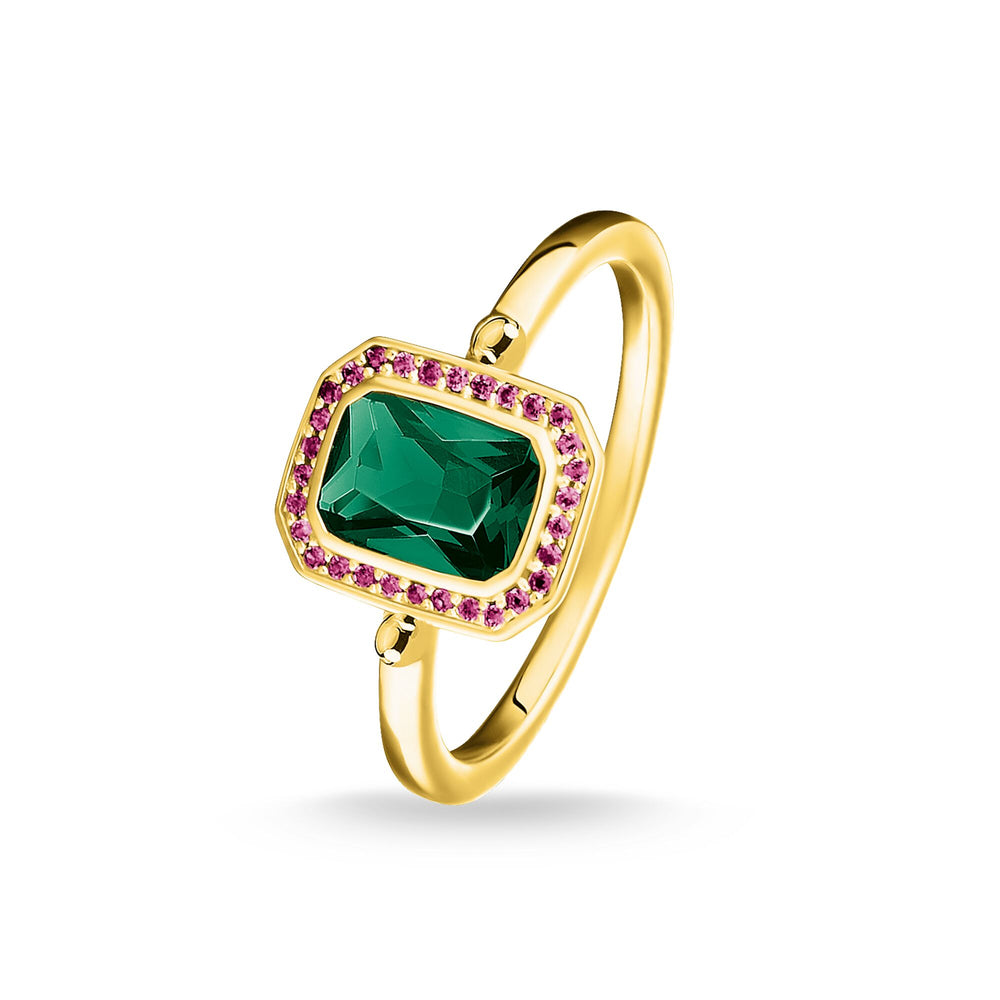 Ring Red & green stones, gold - THOMAS SABO Thailand