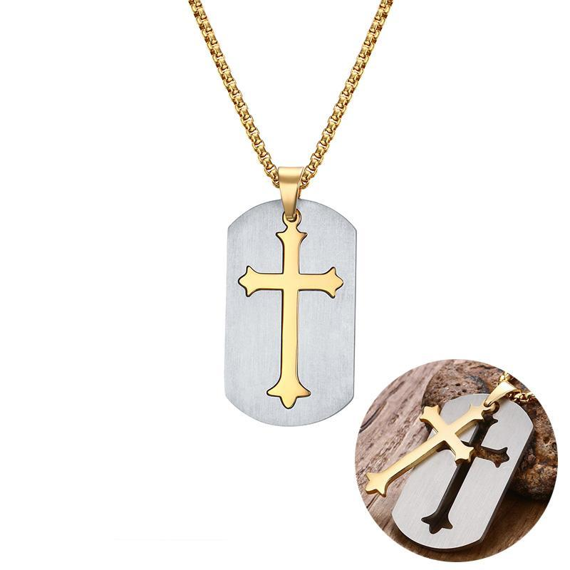 Dog tag cross necklace luxbertshop dog tag cross necklace aloadofball Gallery