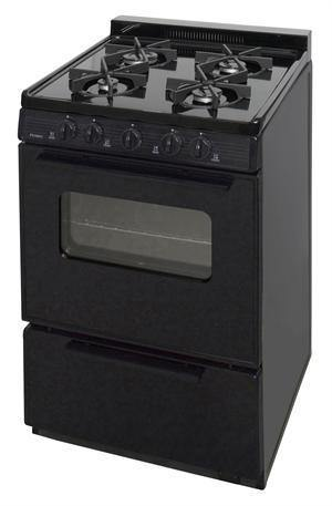 "Premier BJK5X0BP 24"" Battery Ignition Black Range with 4 Variable Sealed Burners - Ben's Discount Supply"