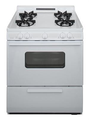 "Premier BMK5X0OP 30"" Battery Ignition Gas Range with 4 Sealed Variable Burners White on White - Ben's Discount Supply"