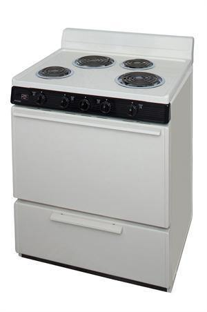 "Premier EDK100TP 30"" Electric Range Biscuit with Black Trim - Ben's Discount Supply"