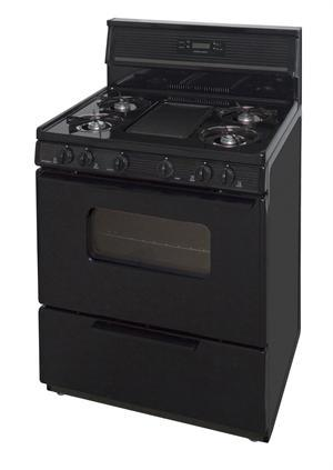 "Premier SFK249BP 30"" Electronic Ignition Gas Range with 5 Cooktop Burners and Griddle Black on Black"