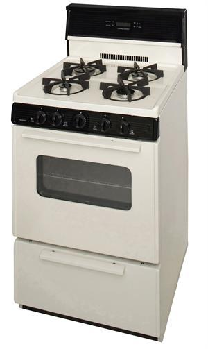 Premier Sjk240tp 24 Electronic Gas Range With 4 Sealed Variable Burners Biscuit With Black Trim Ben S Discount Supply
