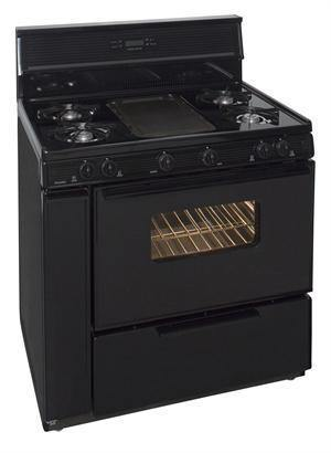 "Premier SLK849BP 36"" Electronic Ignition Black Gas Range - Ben's Discount Supply"