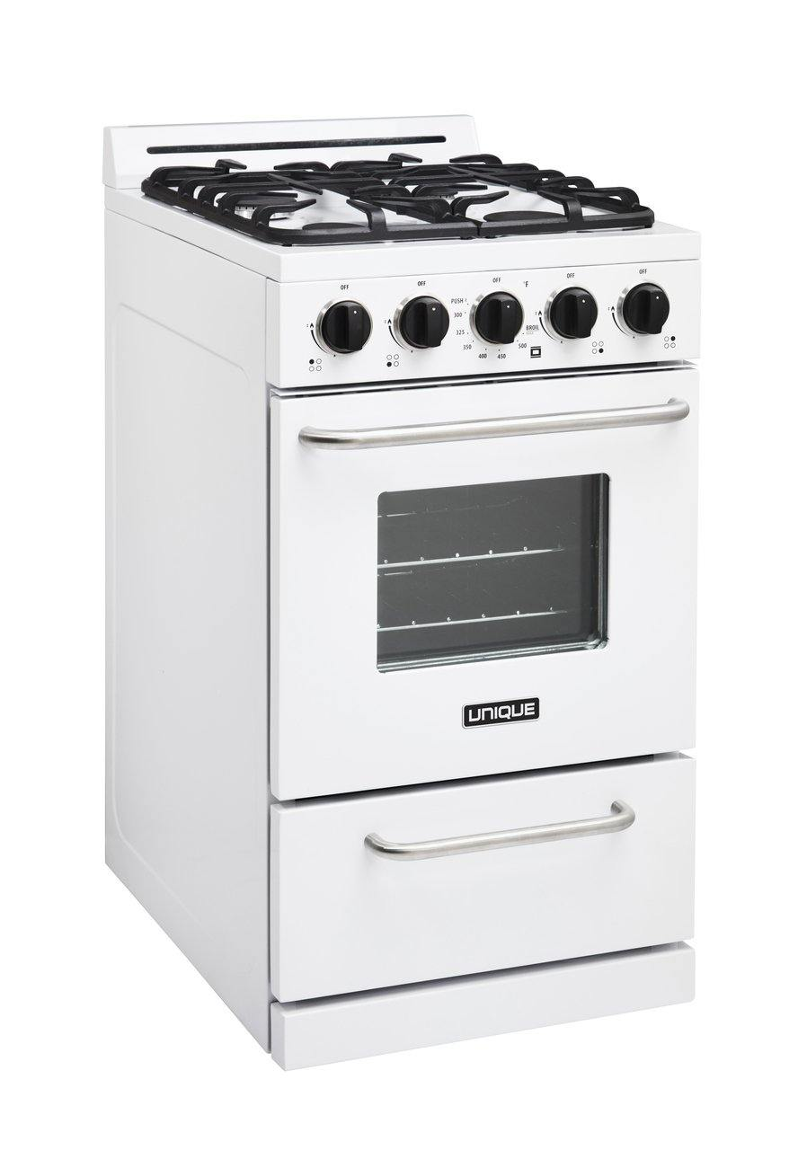 "Unique Classic 20"" Propane Range. Battery Ignition.  Variable BTU sealed burners.  Cast iron grates. Window. UGP-20G OF1 W (white) - Ben's Discount Supply"