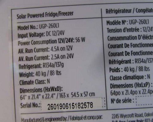 New Scratch & Dent Unique 9 cu/ft Solar Refrigerator-Freezer Dual Power (DC with AC converter optional)  Secop/Danfoss Low Consumption Compressor UGP­-260L1W Serial #260190615182578