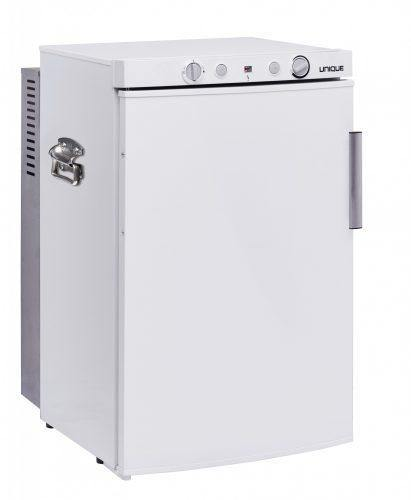 Unique 3.4 cu/ft 3 Way Portable Propane Refrigerator (LP/110V/12V) Carry Handles; Inside Freezer; Top Mounted Controls UGP-3 SM W (White) - Ben's Discount Supply