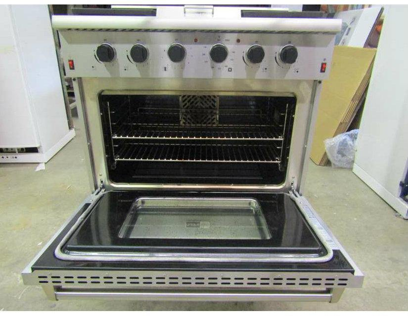 "Pre-Owned (Category 3) Unique Elite 36"" Pro-Style Propane Range  Electronic Ignition  (NOT FOR OFF-GRID) Italian Sabaf Burners (Variable, Sealed, 18,000 BTU Largest) Griddle Waist High Broiler UGP-36E ON 1 (Stainless) Serial #100029 *AS IS. NO WARRANTY.* - Ben's Discount Supply"