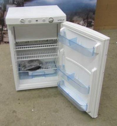 New Scratch and Dent Unique 3.4 cu/ft 3 Way Portable Propane Refrigerator (LP/110V/12V) Carry Handles. Has Inside Freezer Top Mounted Controls UGP-3 SM W (White) Serial #4094 - Ben's Discount Supply