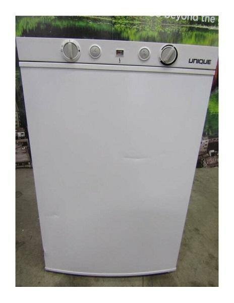 New Scratch and Dent Unique 3.4 cu/ft 3 Way Portable Propane Refrigerator (LP/110V/12V) Carry Handles. Has Inside Freezer Top Mounted Controls UGP-3 SM W (White) Serial #4283 - Ben's Discount Supply