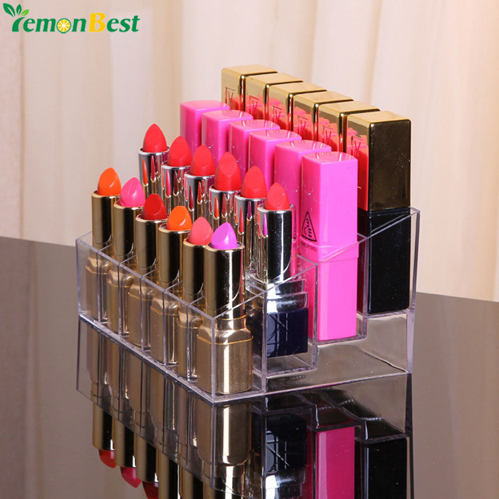 24 Grid Lipstick Acrylic Cosmetic Storage Box Transparent Makeup Organizer 24 Lipstick Holder Display Stand Lipstick Clear Box