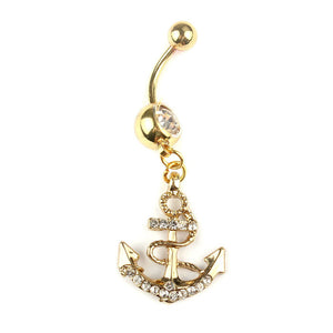 Anchors Dangle Belly Button Rings Body Piercing Gold Sexy Navel rings Sexy jewelry