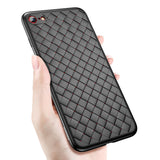 Luxury Creative Grid Weaving Pattern Soft Silicone Back Cover Case for iPhone