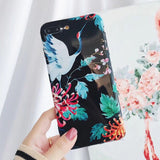 Retro Crane Painted Colorful Flowers Back Cover Case For iPhone