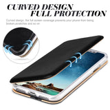 Leather Wallet with Card Slot and Kickstand Back Cover Case for iPhone X