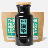 The Organic Tea Project Collector's Bundle: Ayurvedic Herbal Tea Loose Leaf (120g x 2) + Tea Caddie
