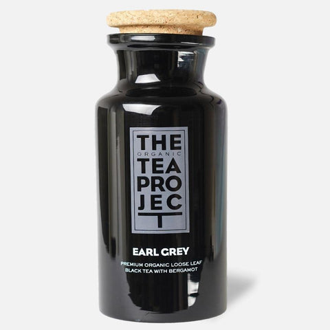 Earl Grey Glass Tea Caddy + 25 Tea Pyramids. Was $37.45 Now $20