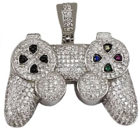Sterling silver ps controller cz pendant diamond designz sterling silver ps controller cz pendant aloadofball Choice Image
