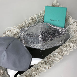 Silver sequin Reversible mask with filter