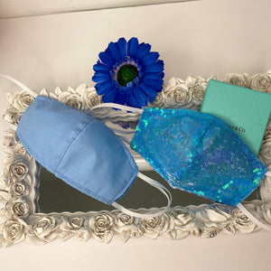 Aqua sequin Reversible mask with filter