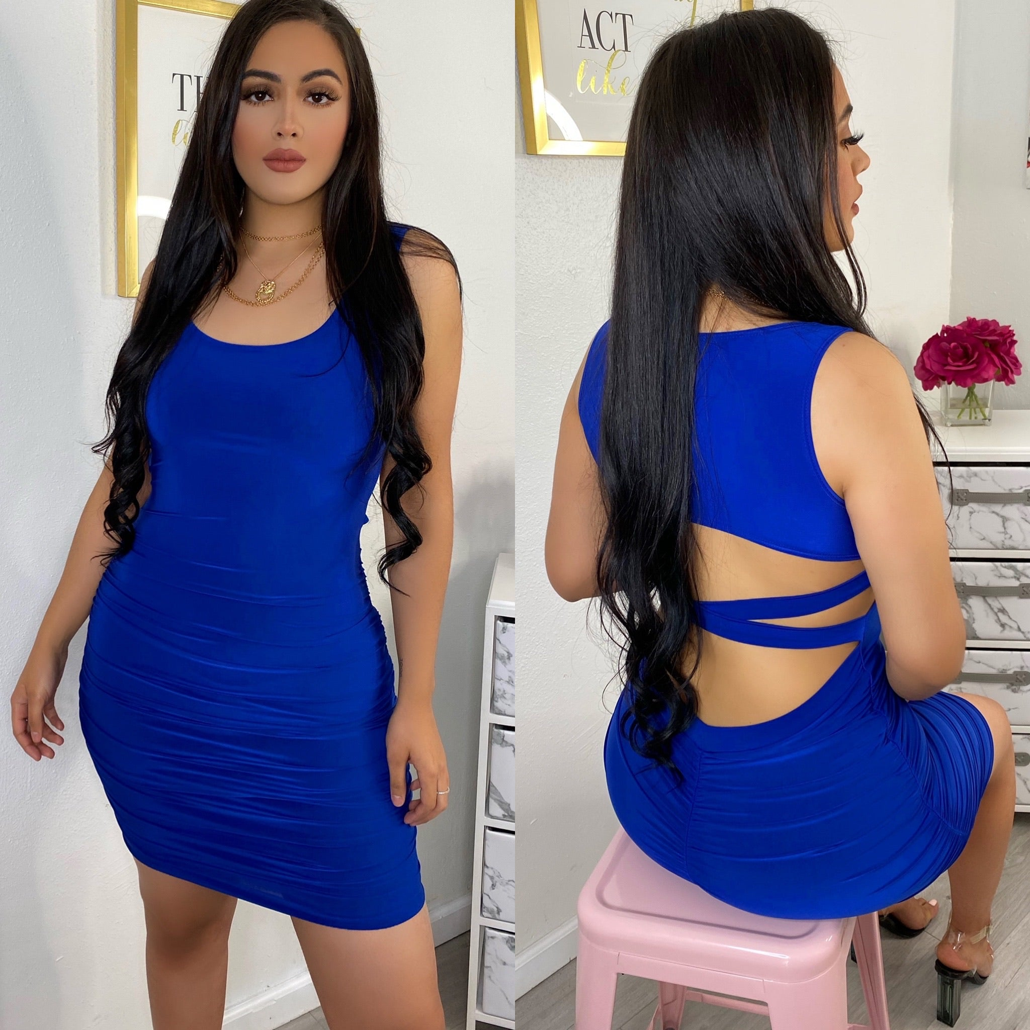 Royal blue Ruched dress