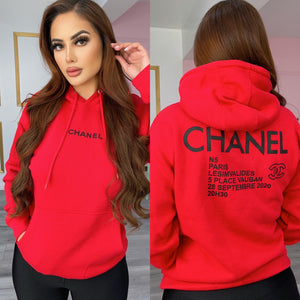 Red hoodie with back print *UNISEX*