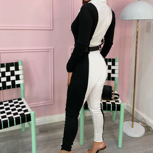 White & black ribbed jumpsuit