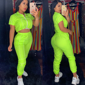 Reflective neon green 2 piece set