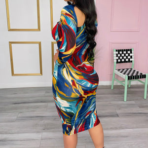 Sandra abstract print dress