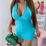 Aqua front zipper dress