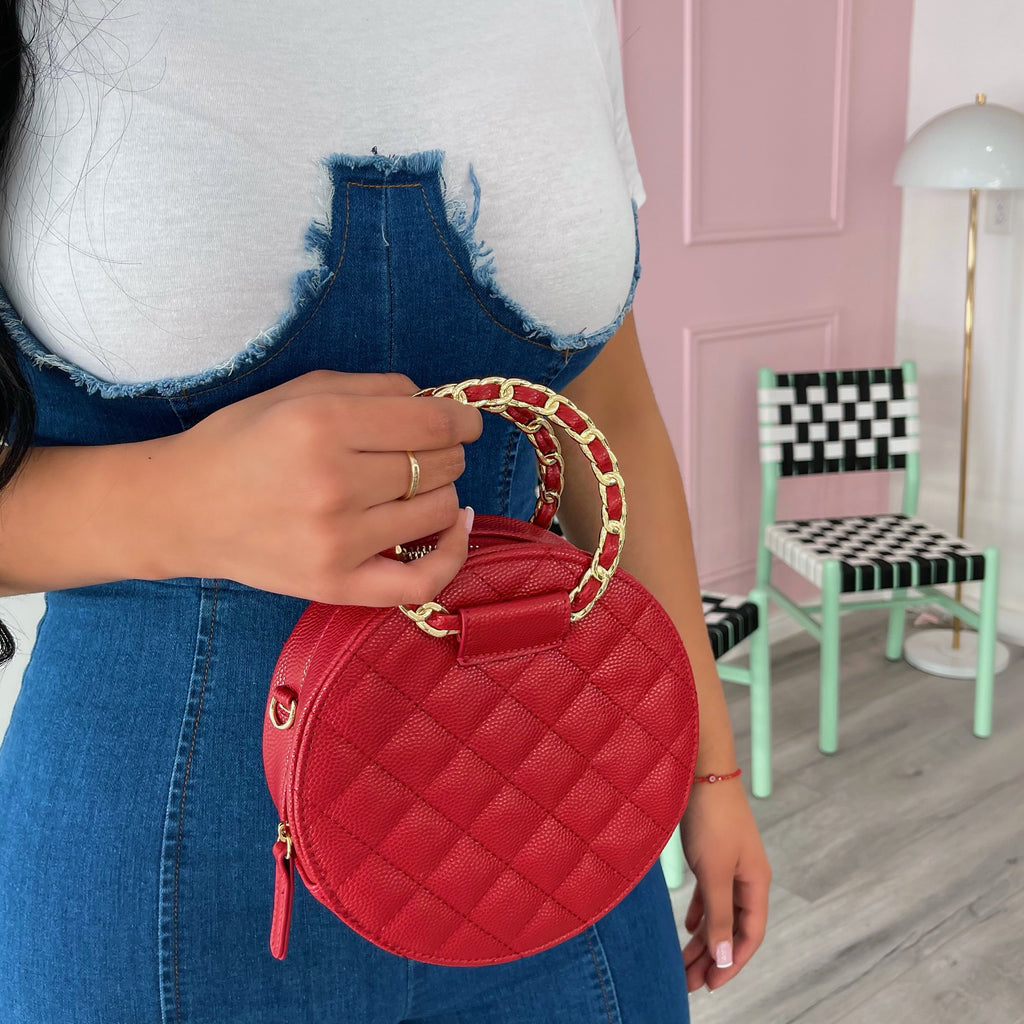 Red round Chantel purse