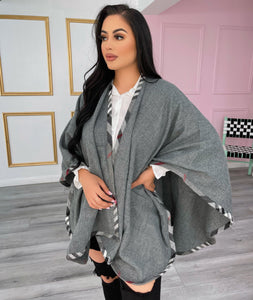 Gray poncho with plaid sides