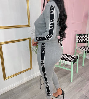 Valentina knit set-Gray