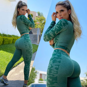 Green camouflage Booty scrunch 2 piece set