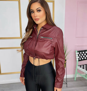 Burgundy leather Top/Jacket