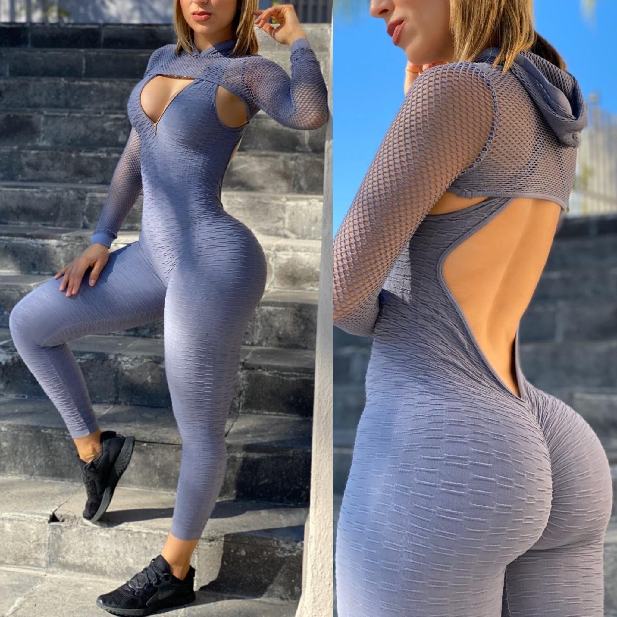 2 piece jumpsuit open back & booty scrunch-Gray