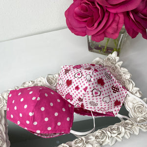 Reversible mask with filter-Pink hearts/polka dot