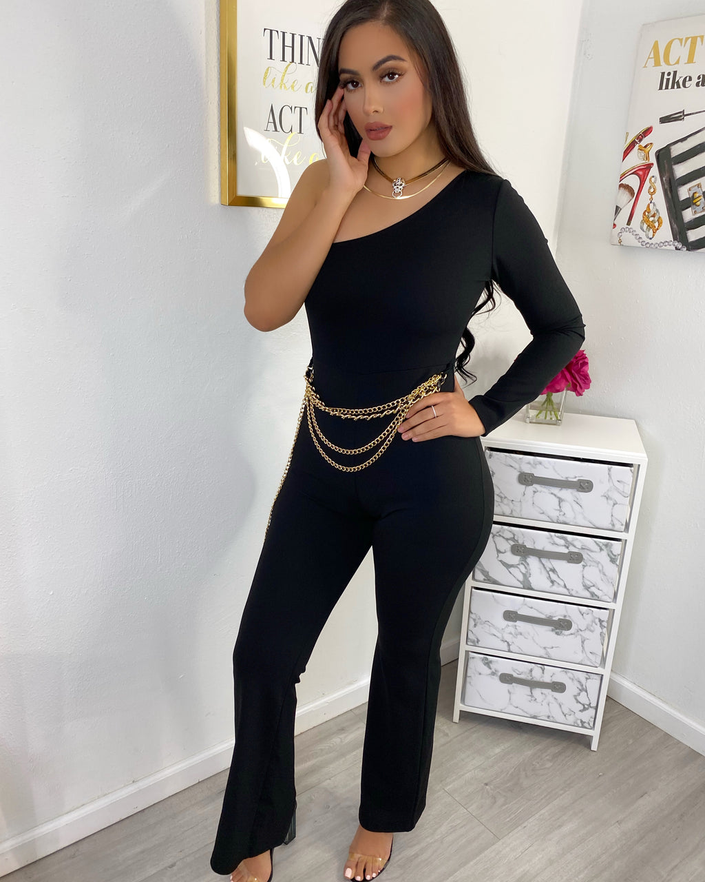 Antonella jumpsuit with chain belt