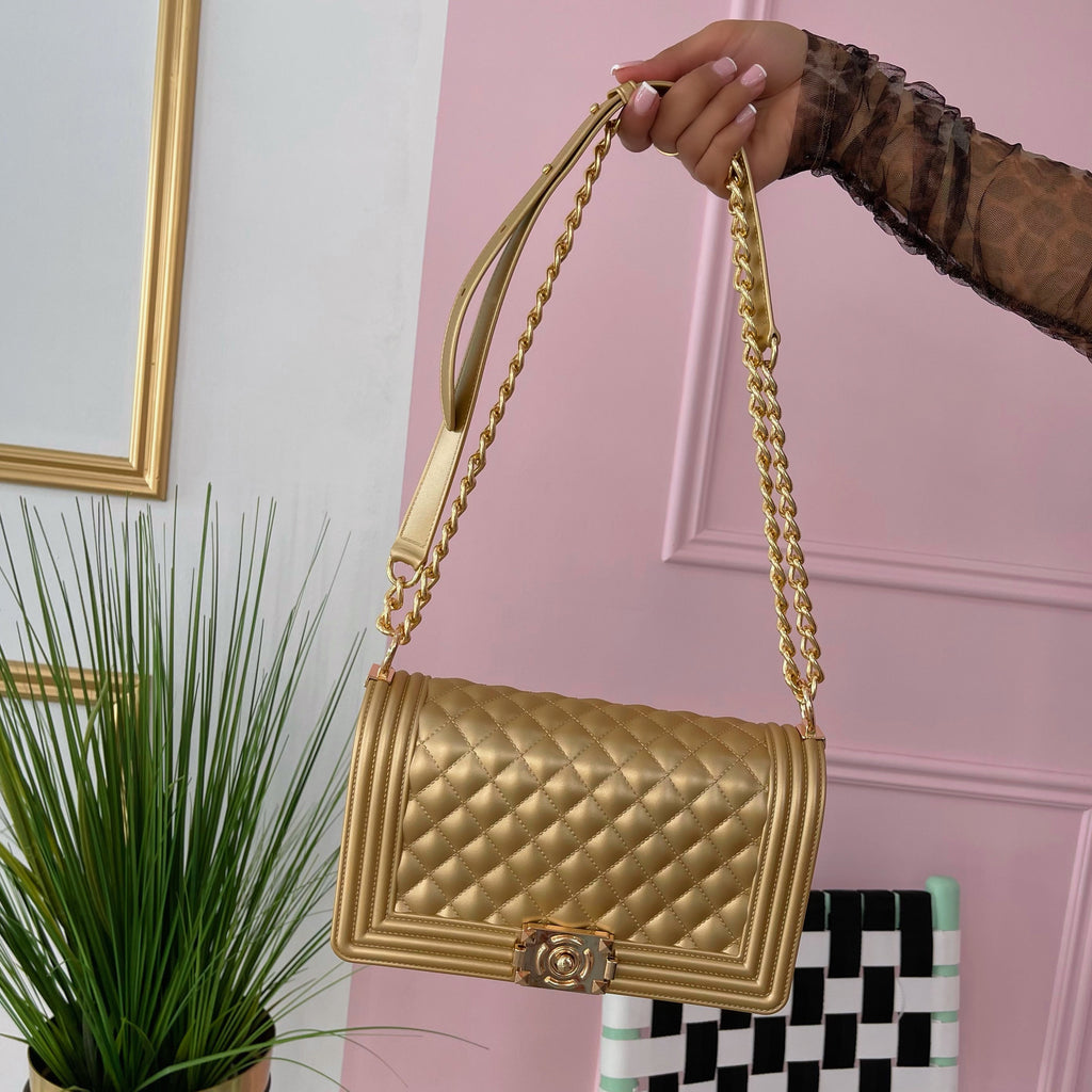 Gold chantel bag