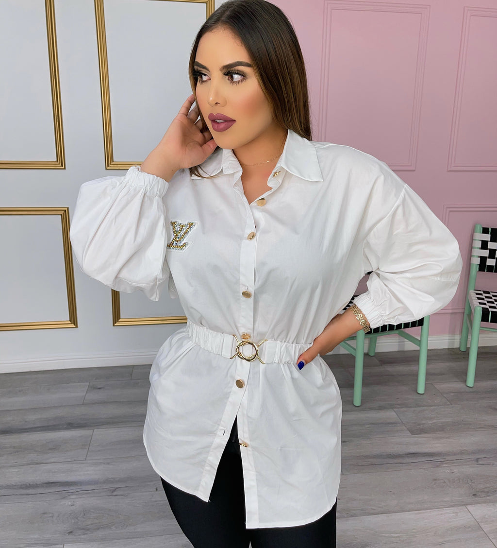 White button down shirt with belt